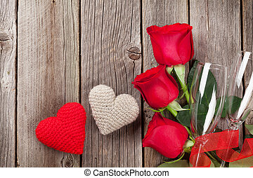Red roses and Valentine's day hearts