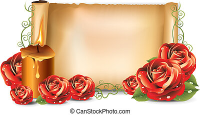 Red roses background candle