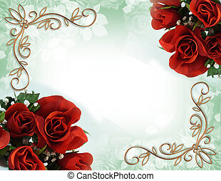 Image and illustration composition with red roses for greeting card, wedding invitation border or background, copy space