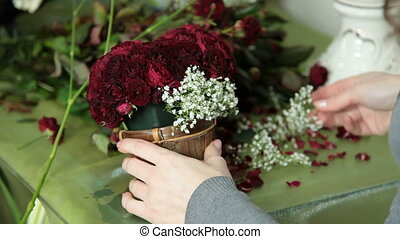 Red Roses Bouquet Arranged in Heart