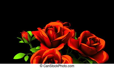 Red Roses Bouquet On Black Text Space