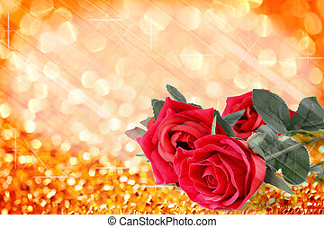 Red roses bouquet with orange bokeh and free space for text valentine background.