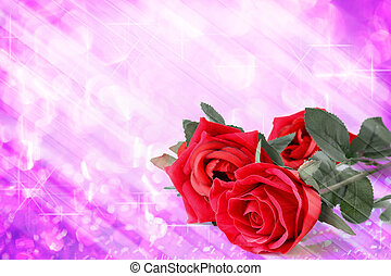 Red roses bouquet with violet bokeh and free space for text valentine background.