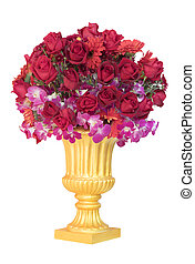 red roses flower bouquet decorated in gold jug isolated white background