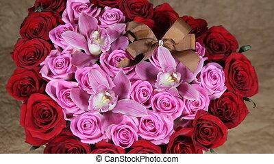 Red roses flowers bouquet romantic romance love