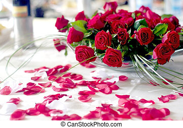red roses for the bride and groom