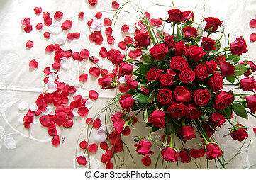 red roses for your love - a bouquet of red roses and a sea ...