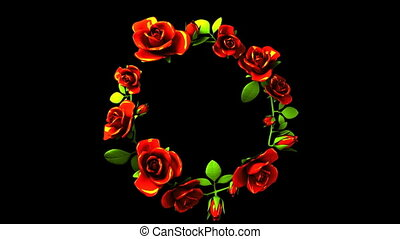 Red Roses Frame On Black Text Space. Loop able 3DCG render Animation.