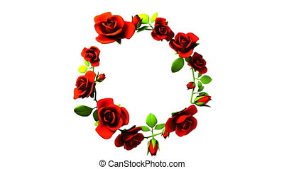 Red roses frame on white text space. Loop able 3DCG render Animation.