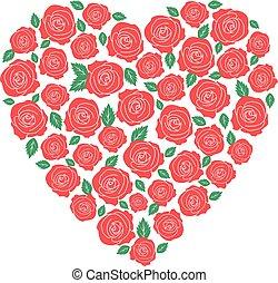 Red roses heart design