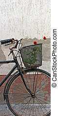 Red roses in basket of old rusty bicycle