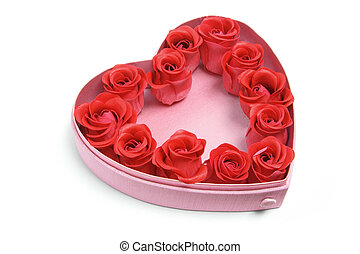 Red Roses in Heart-Shaped Box