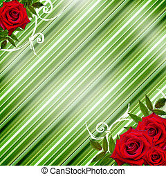 Red roses on a green striped background