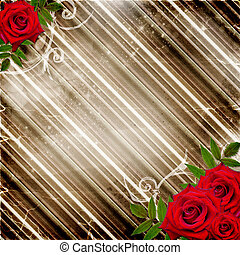 Red roses on a striped background