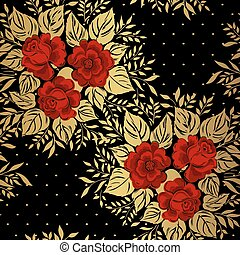 Red roses on gold background. Floral pattern. Vector
