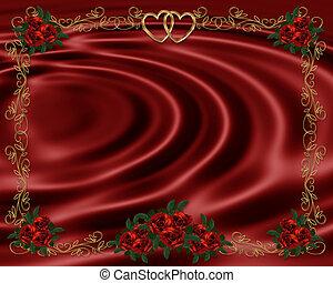 Red Roses on satin invitation