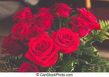 Red roses over valentines day