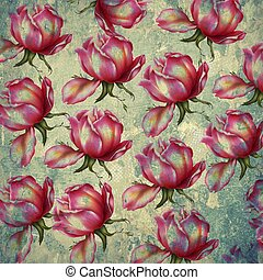 Red roses pattern on a grunge background