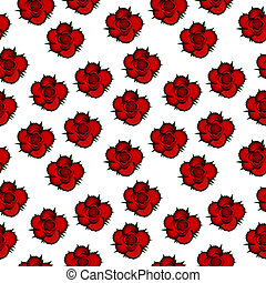 Red roses seamless pattern background.