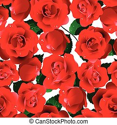 Red roses seamless pattern on a white background
