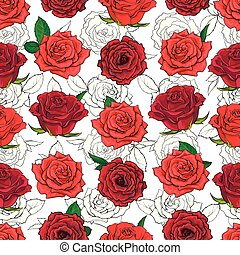 Red roses seamless pattern with hand drawn flowers with leaves on white background.