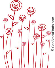 red flowers, vector background