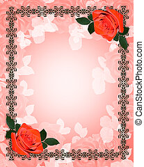 Red roses wedding invitation