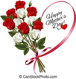 Red roses with a heart-shaped Happy Mother's Day note and...