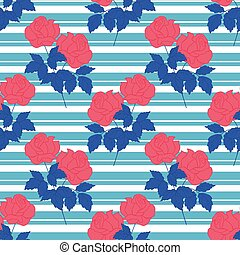 Red roses with blue leaves in a seamless pattern design