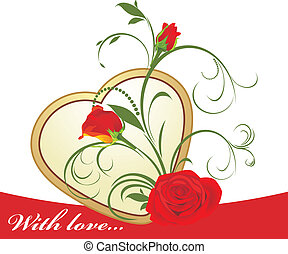 Red roses with floral ornament