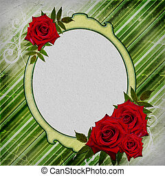 Red roses with frame on a green striped background
