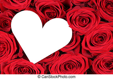 Red roses with heart as symbol of love on Valentine's day - ...