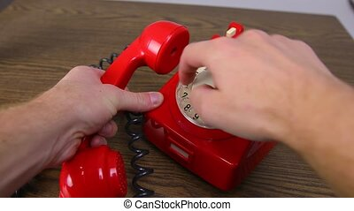 Red Rotary Phone - Red vintage phone calling number