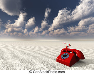 red rotary phone in white landscape