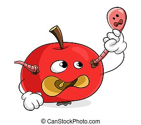 Red rotten apple remove worm from yourself concept get rid of bad things
