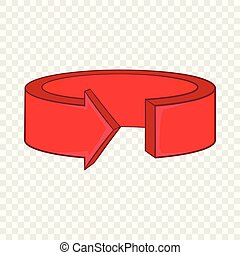 Red round arrow icon, cartoon style