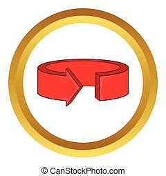 Red round arrow vector icon