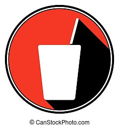 red round, black shadow - drink with straw icon
