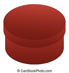 Red round box icon, isometric style