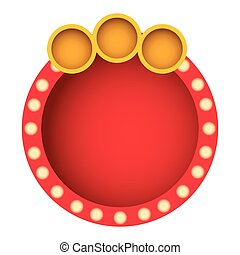 red round bubble with circle icon