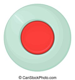 Red round button icon, cartoon style