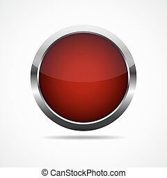 Red round button. illustration.