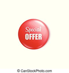 Red round button pin for special offer sale promotion