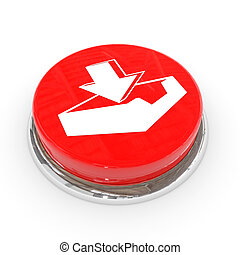 Red round button with download sign.