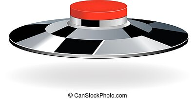Red round button with metallic border
