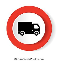 Red round button with truck icon