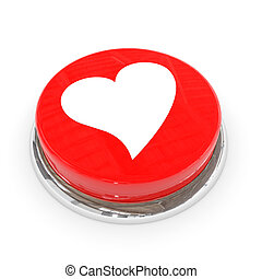 Red round button with white heart.