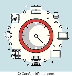red round clock time office business icons