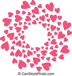 Red round frame of hearts on white background