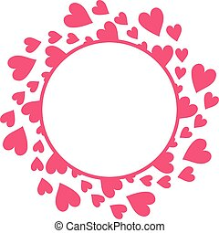 Red round frame of hearts on white background.